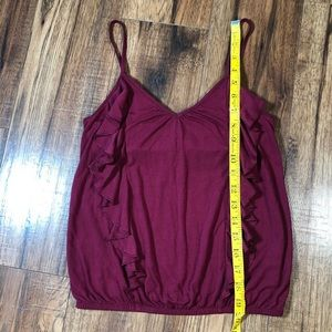 American Eagle Outfitters Tops - American Eagle burgundy ruffled top XS